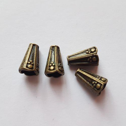 Metallist koonused, 8x13mm, pronksne, 4 tk