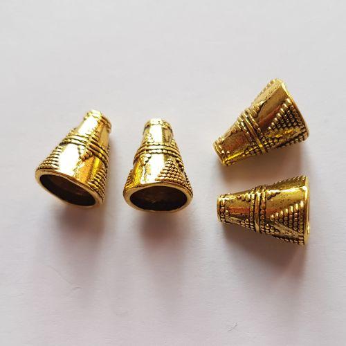 Metallist koonused, 9x12mm, kuldsed, 4 tk