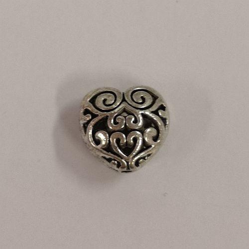 Metallist dekoratiivne süda, 7x13mm, antiikhõbedane, 1 tk