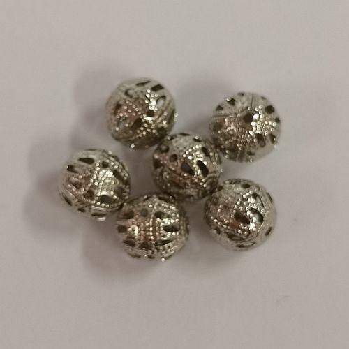 Kerged metallhelmed, 8mm, antiilhõbedased, 6 tk