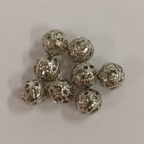 Kerged metallhelmesd, 6mm, antiikhõbedased, 8 tk