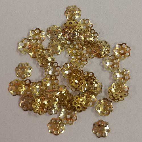Pärlikapsel Lihtne, 6mm, kuldsed, 50 tk