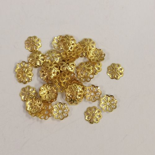Pärlikapsel Daisy, 6mm, kuldsed, 50 tk