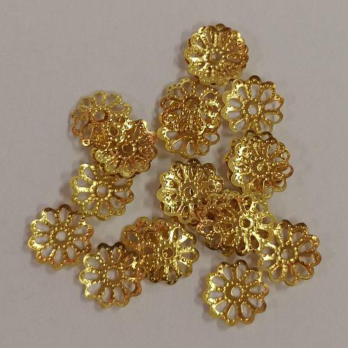 Pärlikapsel Daisy, 8mm, kuldsed, 25 tk