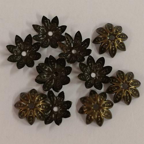 Pärlikapsel Lill, 10mm, pronksne, 10 tk