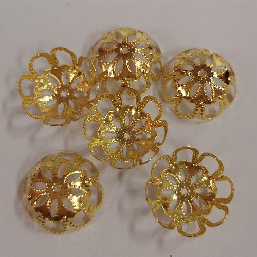 Pärlikapsel Suur Õis, 17mm, kuldsed, 6 tk