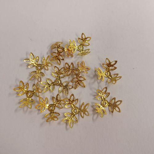 Pärlikapsel 3 lehega, 15mm, kuldsed, 10 tk