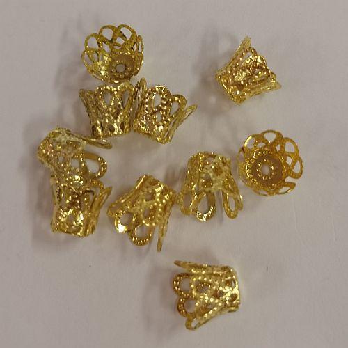 Pärlikapsel Väike Koonus, 8mm, kuldsed, 10 tk