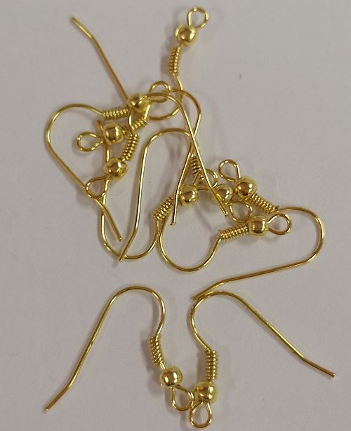 Kõrvarõngakonks palliga, 21mm, kuldsed, 10 tk