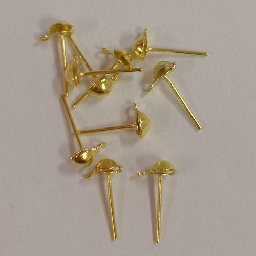 Poltkõrvarõngad aasaga, 5mm, kuldsed, 10 tk