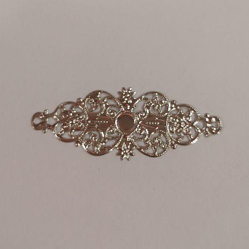 Metallist ornament, 24x61mm, hõbedane, 1 tk