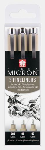 Pigma Micron 3 Fineliners 3 erinevat jämedust 005, 01, 03