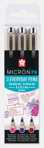 Pigma Micron PN 3 värvi (3 everyday pens) Roosa, lilla, punane