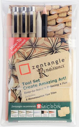 Zentangle komplekt Renaissance. 6 markeit+paberid.