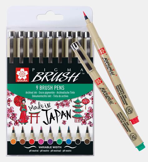 Sakura Pigma Brush Pen pintselmakerid, 9 värvi