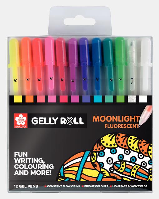 Sakura Gelly Roll geelpliiatsid Moonlihght Flourescent 12 värvi