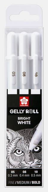 Sakura Gelly Roll geelpliiatsid 3 tk pakis (valge 05, 08 ja 10)