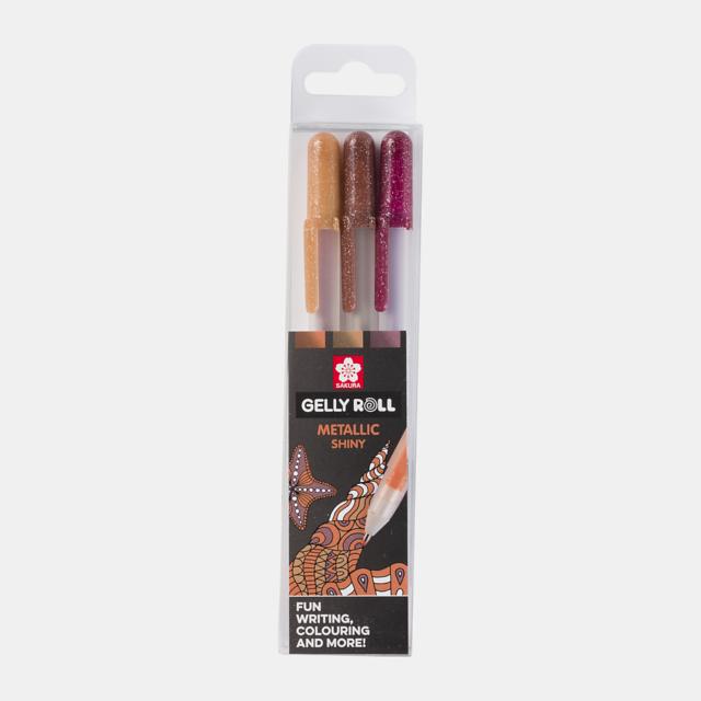 Sakura Gelly Roll geelpliiatsid 3 tk pakis (metallik pronks, vask)