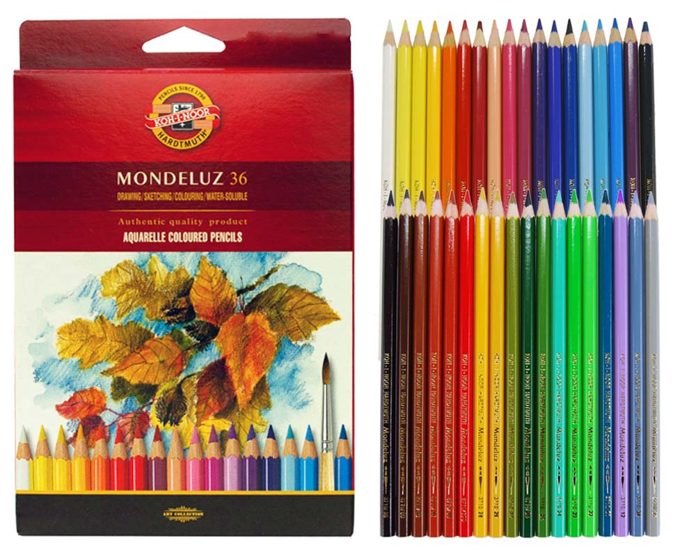 Koh-i-Noor Mondeluz 36, akvarellitavad pliiatsid, 36 värvi