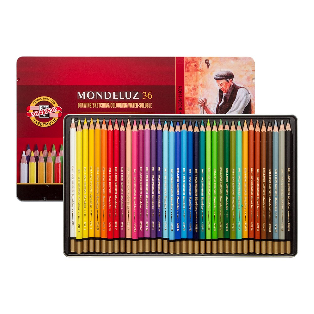 Koh-i-Noor Mondeluz 36 metallkarbis, akvarellitavad pliiatsid, 36 värvi