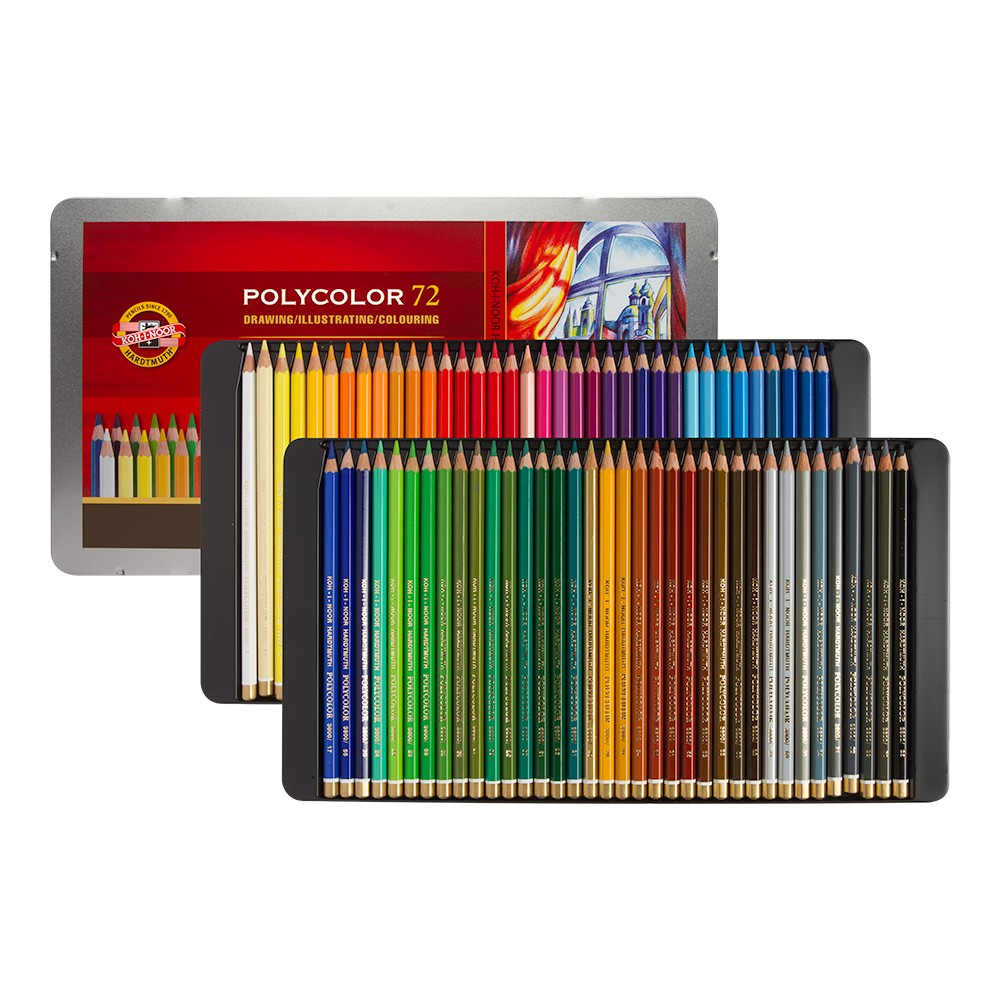 Koh-i-Noor Polycolour 72 metallkarbis, värvipliiatsid 72 värvi