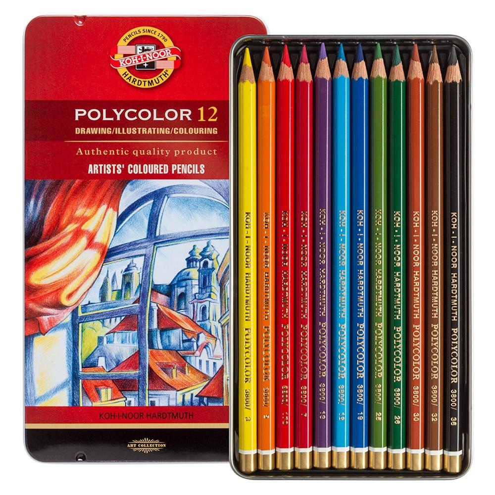 Koh-i-Noor Polycolour 12 metallkarbis, värvipliiatsid 12 värvi