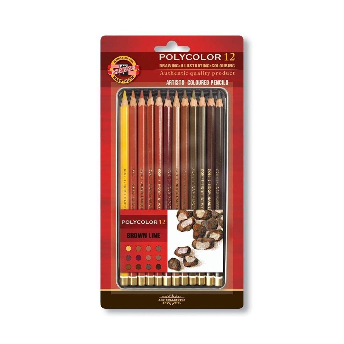 Koh-i-Noor Polycolour 12 BROWN, värvipliiatsid pruunides toonides 12 värvi