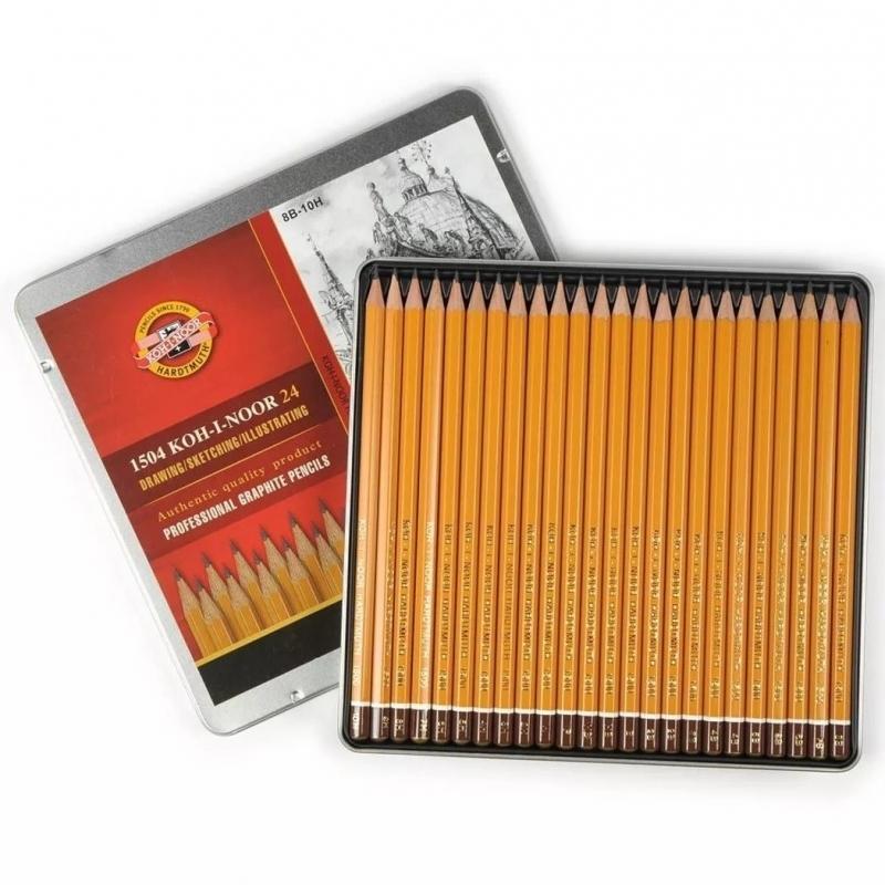 1504 Koh-i-Noor 24, 8B-10H profesionaalsed harilikud pliiatsid, 24tk