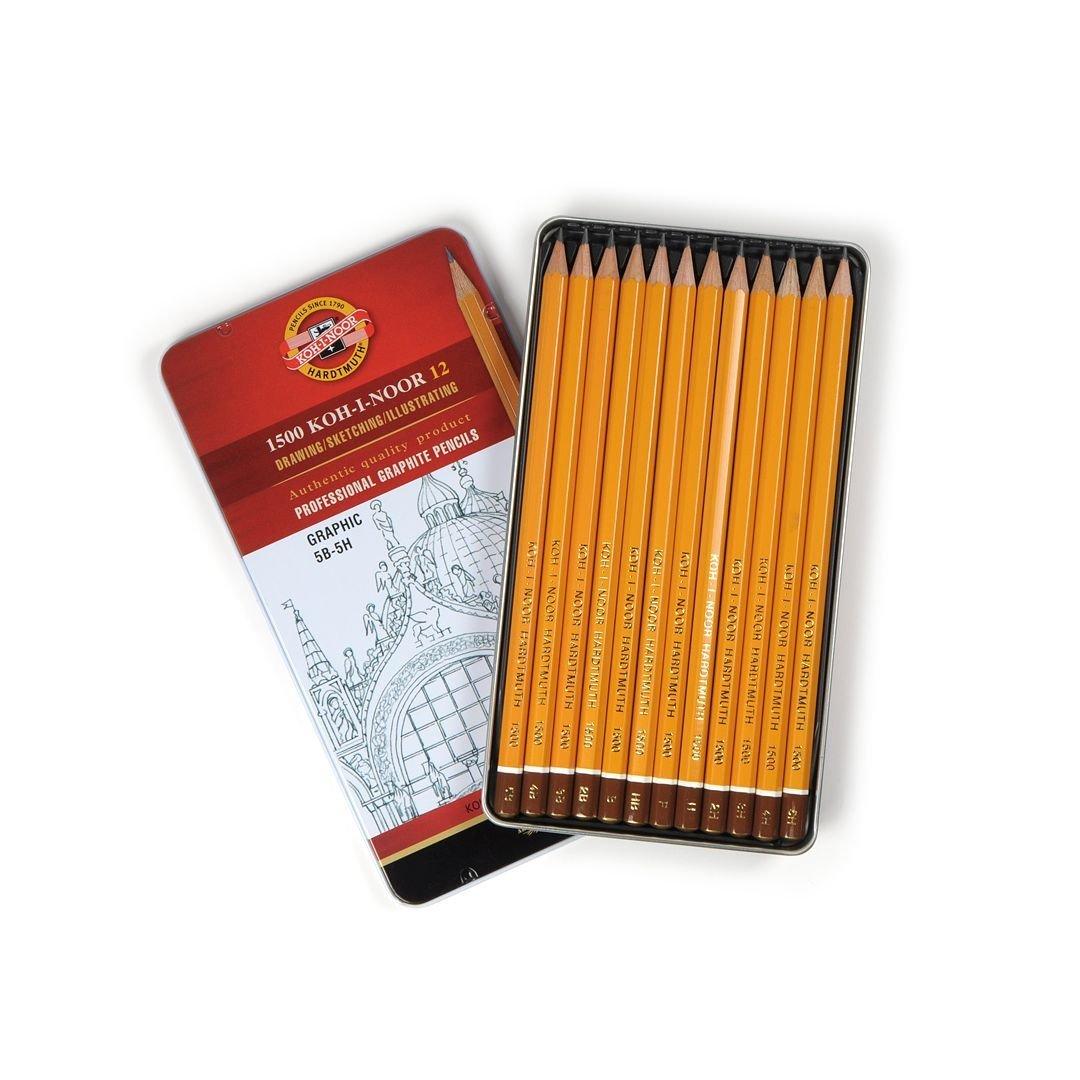 1500 Koh-i-Noor 12, GRAPHIC 5B-5H, profesionaalsed harilikud pliiatsid, 12 tk