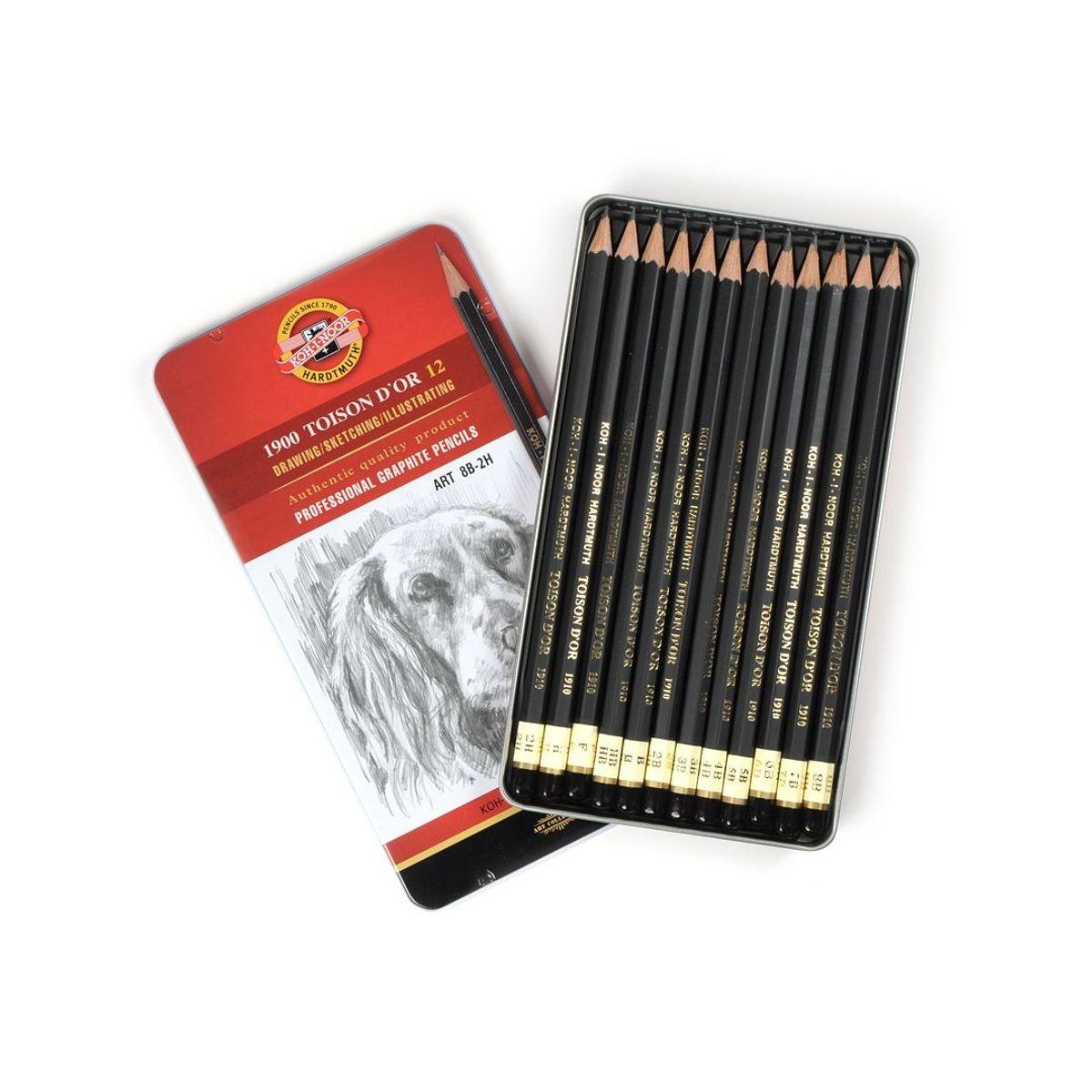 1900 Koh-i-Noor Toison D'or 12, ART 8B-2H profesionaalsed joonistamiseks harilikud pliiatsid, 12 tk