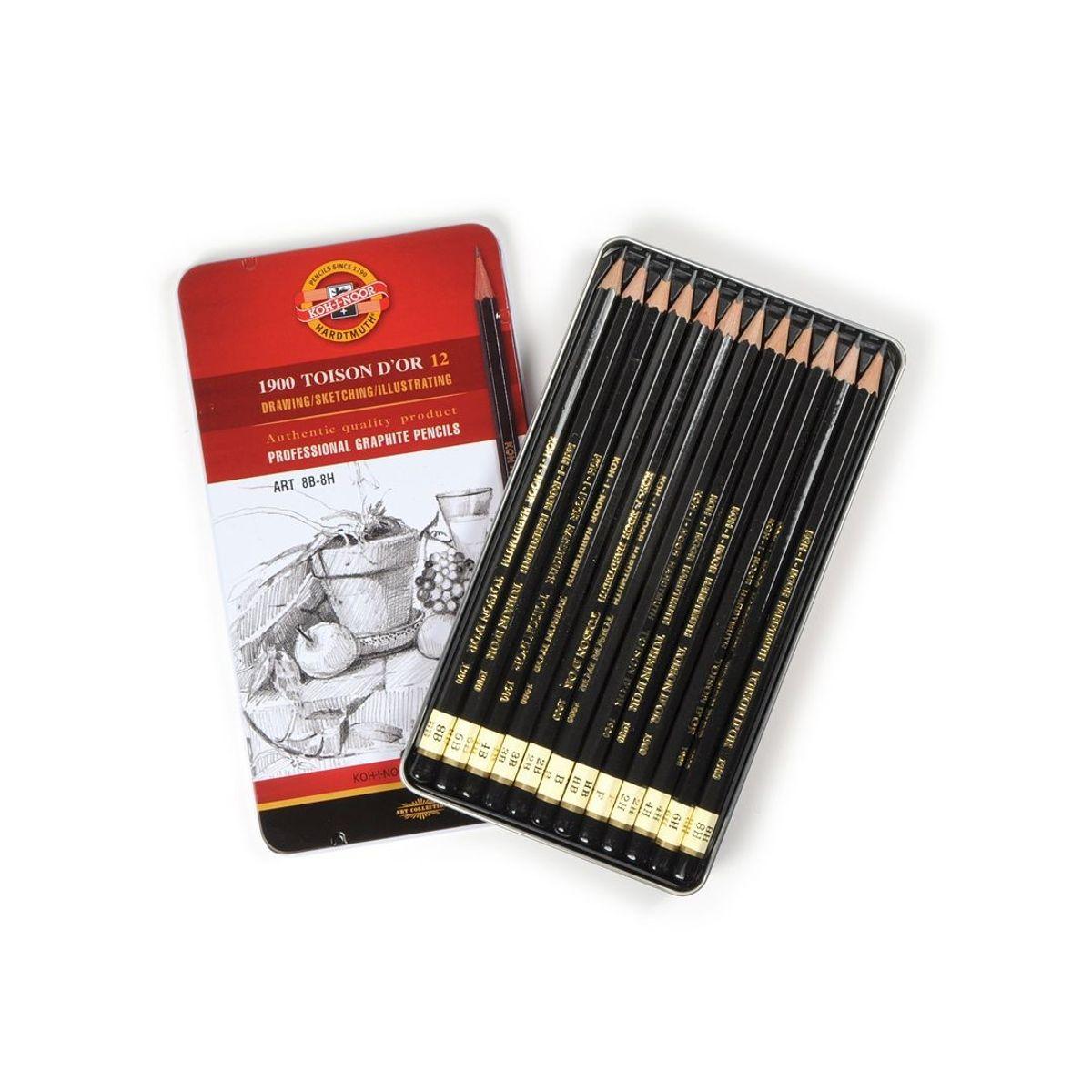 1900 Koh-i-Noor Toison D'or 12, ART 8B-8H profesionaalsed joonistamiseks harilikud pliiatsid, 12 tk