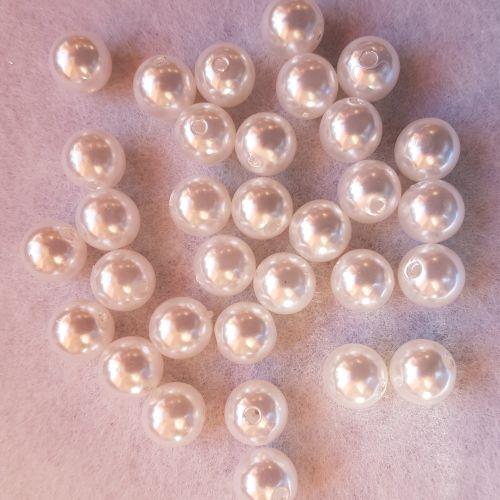 Plastpärlid, 10mm, valge