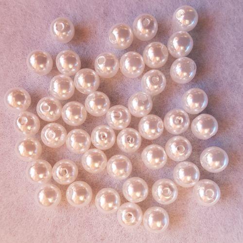 Plastpärlid, 8mm, valge