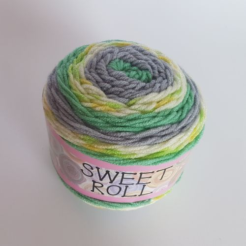 Lõng Sweet Roll, 140gr, 224 m, roheline mix 8164