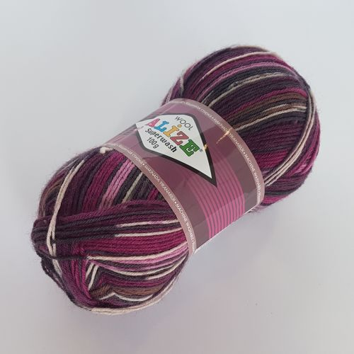 Lõng Alize Superwash Wool, 100gr, 420m, fuksia mix 4721