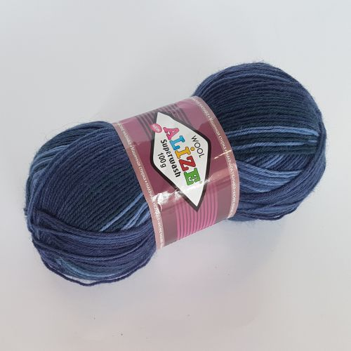 Lõng Alize Superwash Wool, 100gr, 420m, tumesinine mix 3561