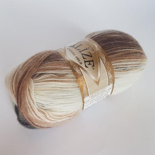 Lõng Alize Angora Gold, 100gr, 550m, pruun-valge mix 5742