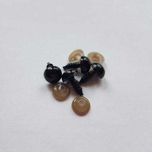 Turvasilmad, 10mm, mustad, 4 tk