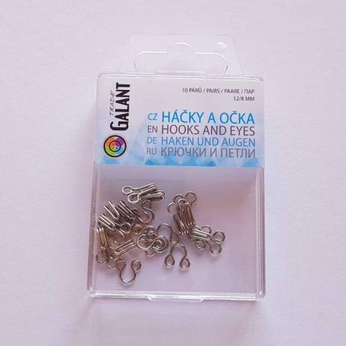 Haagid, 12mm/8mm, 10 paari, hõbedased