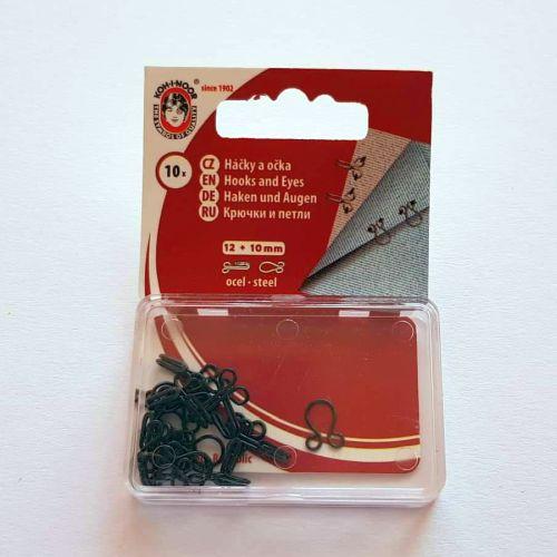Haagid, 12mm/10mm, 10 paari, mustad